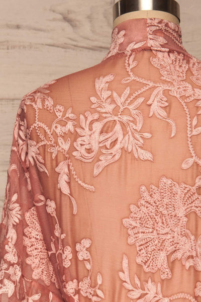 Eggjareir Pink Floral Lace Kimono back close up | La petite garçonne