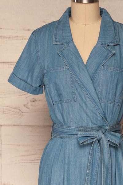 Eggkleiva Light Blue Denim Midi Wrap Dress | La Petite Garçonne front close-up