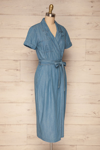 Eggkleiva Light Blue Denim Midi Wrap Dress | La Petite Garçonne side view