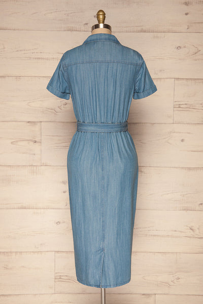 Eggkleiva Light Blue Denim Midi Wrap Dress | La Petite Garçonne back view