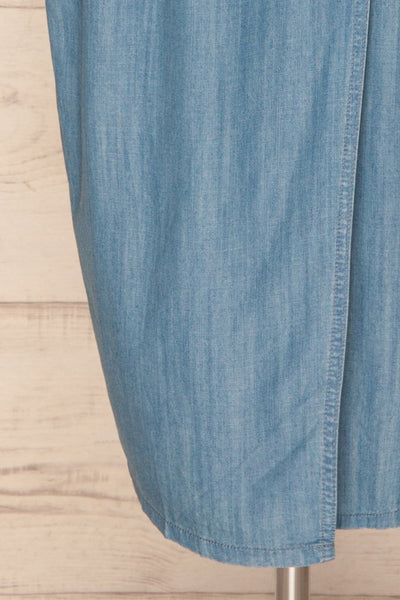 Eggkleiva Light Blue Denim Midi Wrap Dress | La Petite Garçonne bottom close-up