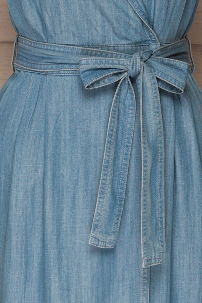 Eggkleiva Light Blue Denim Midi Wrap Dress | La Petite Garçonne detail close-up