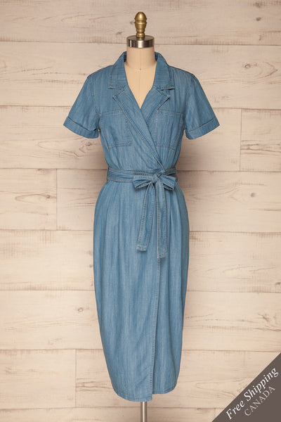 Eggkleiva Light Blue Denim Midi Wrap Dress | La Petite Garçonne front view