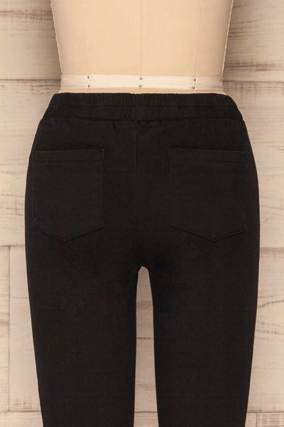 Eggum Coal Black Fitted Denim Pants | BACK CLOSE UP  | La Petite Garçonne