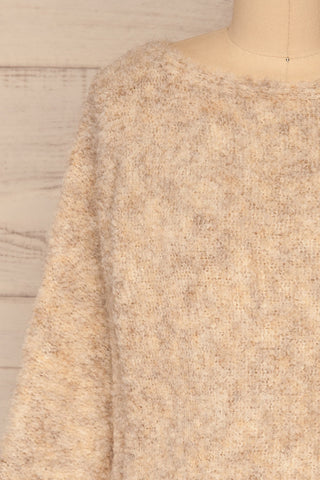 Egilsvik Beige Knit Sweater | La Petite Garçonne front close-up