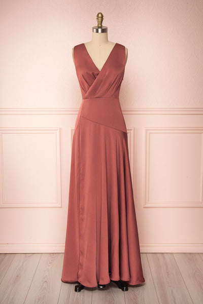 Eglantine Pink Satin Flare Gown | Robe longue | Boudoir 1861 front view