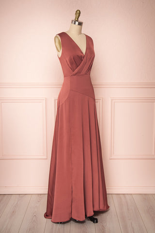 Eglantine Pink Satin Flare Gown | Robe longue | Boudoir 1861 side view