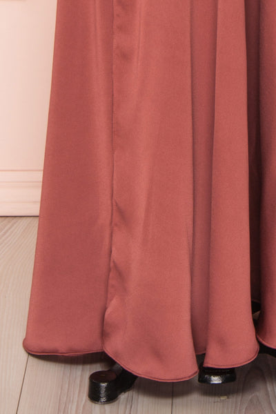Eglantine Pink Satin Flare Gown | Robe longue | Boudoir 1861 bottom close-up