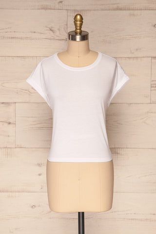 Eibydal Bianca White Slightly Cropped T-Shirt | La Petite Garçonne 1