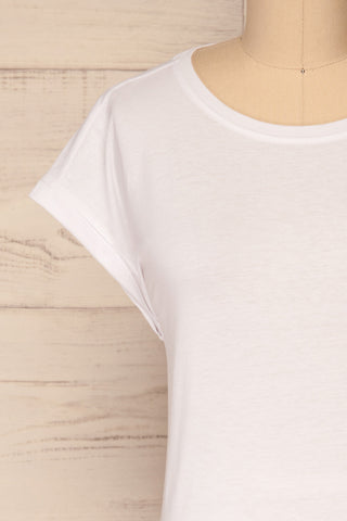Eibydal Bianca White Slightly Cropped T-Shirt | La Petite Garçonne 3