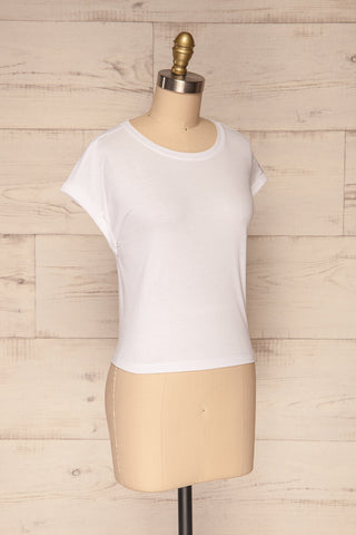 Eibydal Bianca White Slightly Cropped T-Shirt | La Petite Garçonne 4