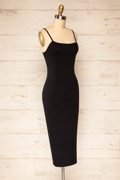 Eidland Black Ribbed Midi Dress | La petite garçonne side view
