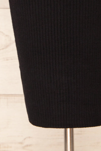 Eidland Black Ribbed Midi Dress | La petite garçonne bottom