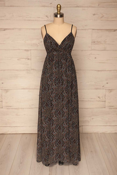 Eidsoyra Black & Pattern Maxi Summer Dress | La petite garçonne front view