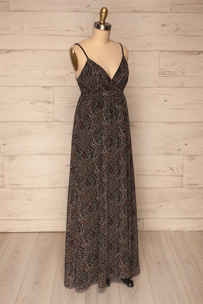 Eidsoyra Black & Pattern Maxi Summer Dress | La petite garçonne side view