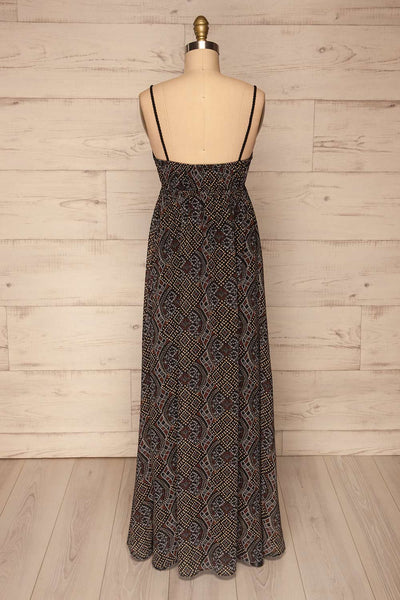 Eidsoyra Black & Pattern Maxi Summer Dress | La petite garçonne back view