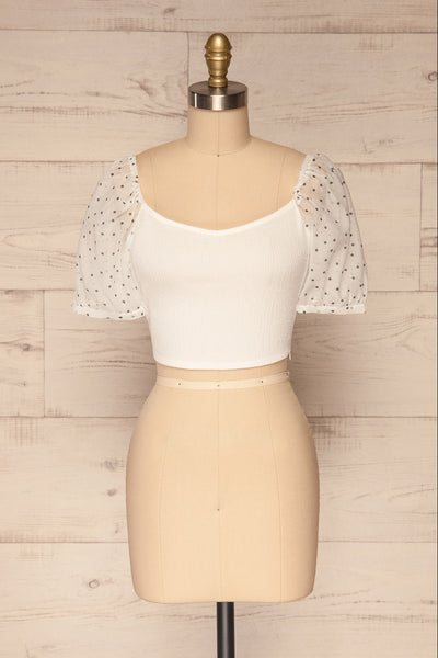 Eidssund White Puff Sleeved Crop Top | La Petite Garçonne front view