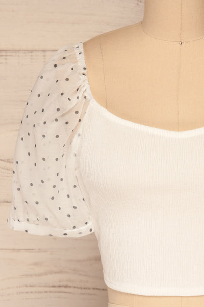 Eidssund White Puff Sleeved Crop Top | La Petite Garçonne front close-up