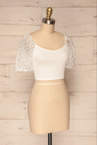 Eidssund White Puff Sleeved Crop Top | La Petite Garçonne side view