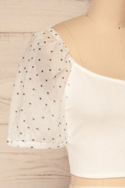 Eidssund White Puff Sleeved Crop Top | La Petite Garçonne side close-up