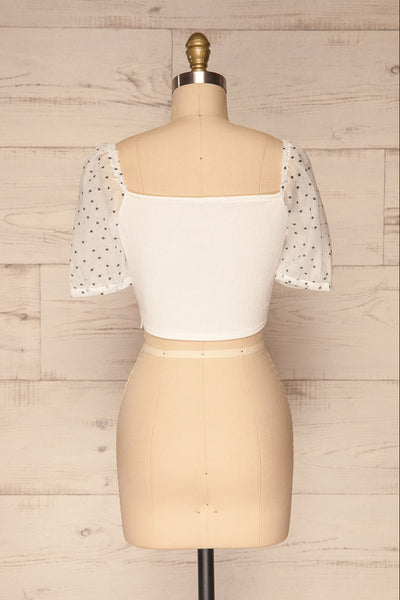 Eidssund White Puff Sleeved Crop Top | La Petite Garçonne back view