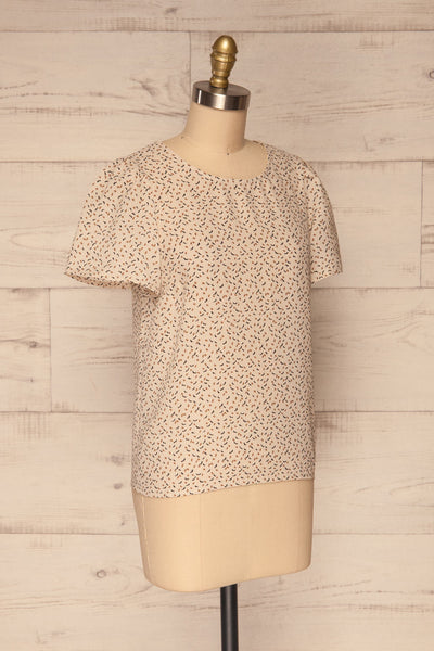 Eidstranda Beige Patterned Chiffon Top | La petite garçonne side view