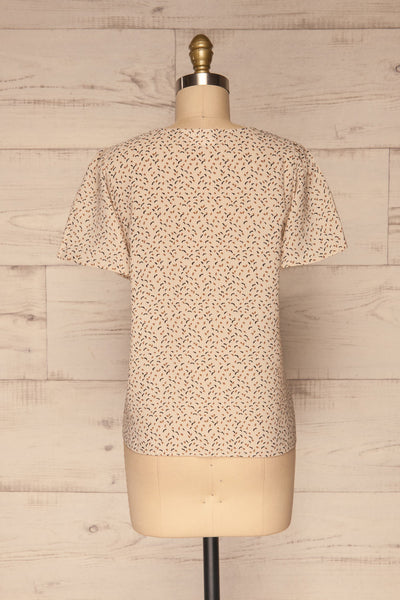 Eidstranda Beige Patterned Chiffon Top | La petite garçonne back view