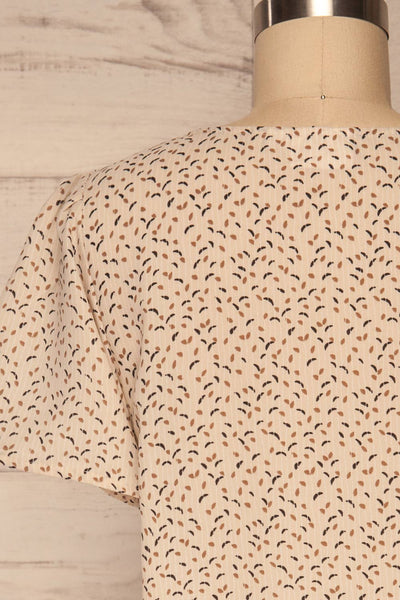 Eidstranda Beige Patterned Chiffon Top | La petite garçonne back close up