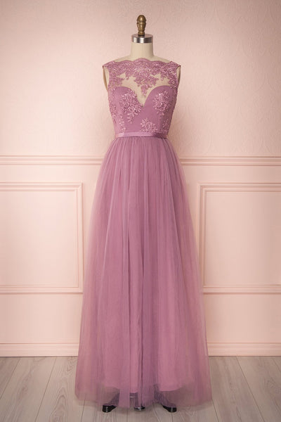 Eiki Lilac Lilac Purple Embroidered Tulle Gown | Boutique 1861