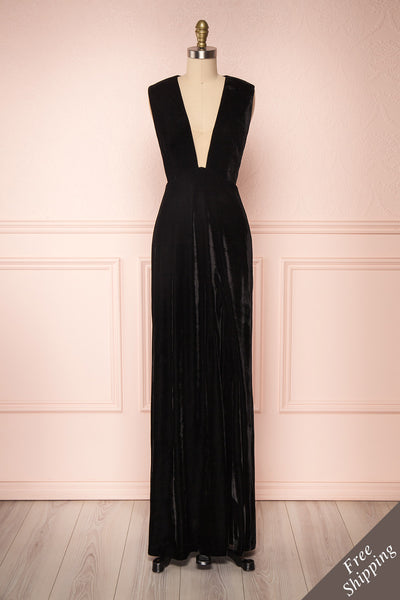 Eileen Black Velvet A-Line Gown | Boutique 1861 front view