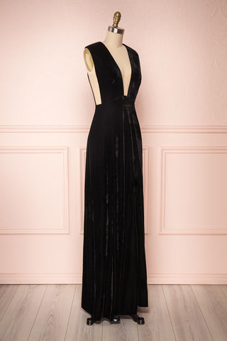 Eileen Black Velvet A-Line Gown | Boutique 1861 side view
