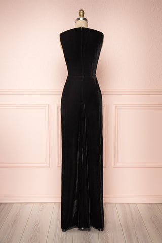 Eileen Black Velvet A-Line Gown | Boutique 1861 back view