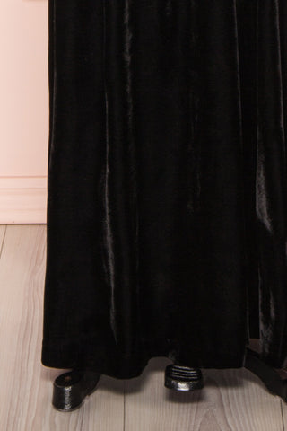 Eileen Black Velvet A-Line Gown | Boutique 1861 bottom close-up