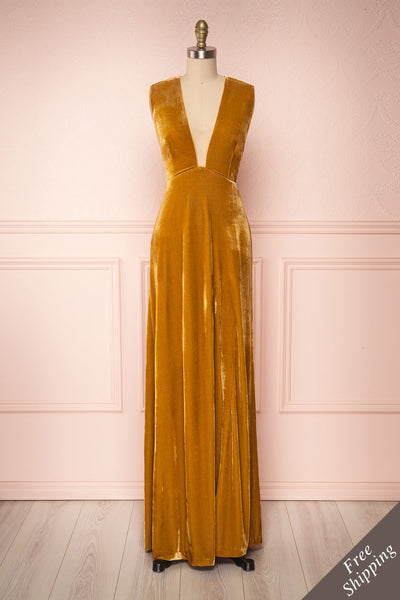 Eileen Mustard Yellow Velvet A-Line Gown | Boutique 1861  front view