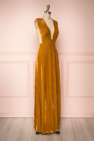Eileen Mustard Yellow Velvet A-Line Gown | Boutique 1861  side view