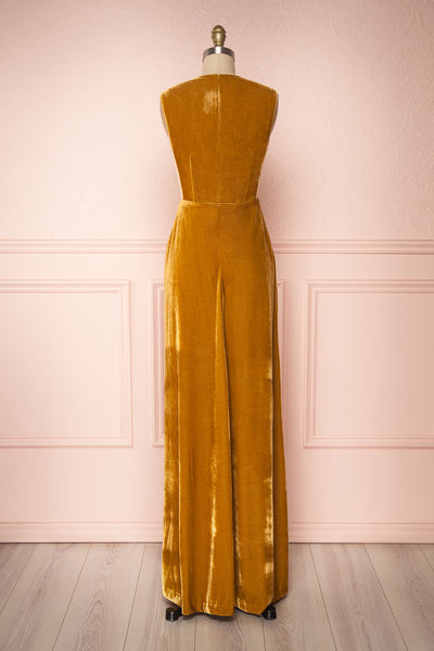 Eileen Mustard Yellow Velvet A-Line Gown | Boutique 1861  back view