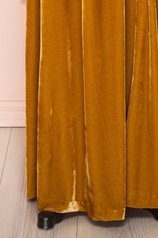 Eileen Mustard Yellow Velvet A-Line Gown | Boutique 1861  bottom close-up
