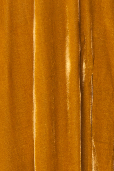 Eileen Mustard Yellow Velvet A-Line Gown | Boutique 1861  fabric detail