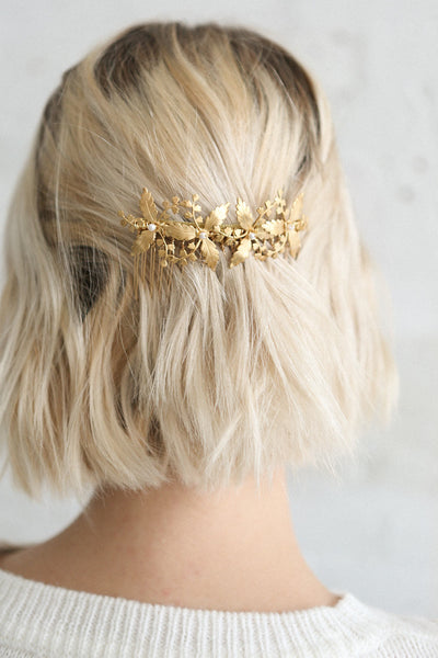 Eileithyia Gold Hair Comb with Flowers & Leaves | Boudoir 1861