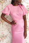 Eirwen on Eirwen Pink Satin Puffy Sleeve Flared Dress | Boutique 1861 model