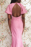 Eirwen Pink Satin Puffy Sleeve Flared Dress | Boutique 1861 model back