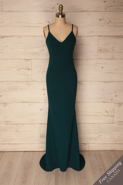 Eisden Green V-Neck Maxi Mermaid Dress | La Petite Garçonne