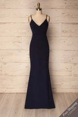 Eisden Navy Blue V-Neck Maxi Mermaid Dress | La Petite Garçonne
