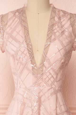 Elaina Baby Pink Sequin A-Line Dress | Boutique 1861 2
