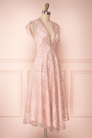 Elaina Baby Pink Sequin A-Line Dress | Boutique 1861 3