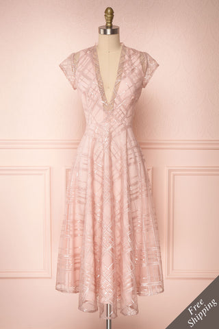 Elaina Baby Pink Sequin A-Line Dress | Boutique 1861 1