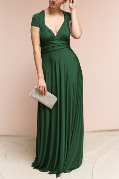Elatia Forêt Forest Green Maxi Infinity Dress | Boudoir 1861 on model
