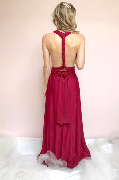 Elatia Bourgogne Burgundy Maxi Infinity Dress | Boudoir 1861 on model
