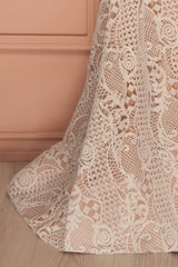 Eleanor - Ivory lace plunging neckline gown