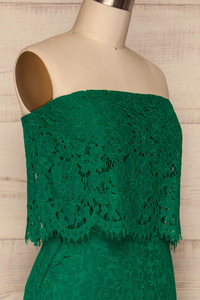 Eleftherio Émeraude Green Lace Bustier Jumpsuit | La Petite Garçonne side close-up